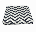 le06t Dark Blue on Beige Zig Zag Cotton Canvas 3D Box Seat Cushion Cover Custom