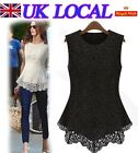Trendy Sleevess Hollow Out Lace Floral Women Vest Top Shirt New UK Local Postage