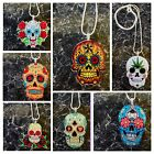 ROCKABILLY, KITSCH LARGE MEXICAN DAY OF THE DEAD, SUGAR SKULL, NECKLACE PENDANT