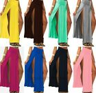New Sexy Women's High Waisted Double Slits Open Rayon Knit Long Maxi Skirt