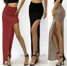 European Style Women Sexy Asymmetrical High Waist Cut out Side Slit Long Skirt
