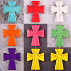 Free Shipping Mixed Red Blue Pink 50x40MM Turquoise Cross Bead Pendant 1Pcs