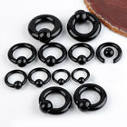 2x Body Piercing Black Acrylic Round Captive Bead Nose Ring Hoop Stud Gauge Punk