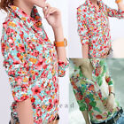 New Fashion Floral Women Ladies Chiffon Long Sleeve Shirt Tops Blouse T-shirt