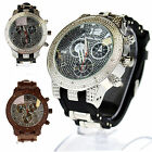 Tecno Trend Mens Iced Out Hip Hop Bullet Band Luxury Analog Round Wrist Watch