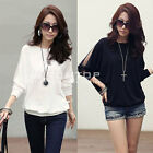 Women Lady Batwing Dolman Lace Loose Blouse Top Long Sleeve T-Shirt