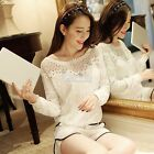 Womens Vintage Lace Crochet Shawl Collar Bat sleeve Top T-shirt Blouse Boat Neck