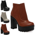 Womens Synthetic Ladies Grip Sole Pull On Autumn Boots Block High Heels Size 3-8