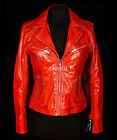 Rachel Red Ladies Retro Style Vintage Look Real Soft Sheep Washed Leather Jacket