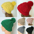 Unisex Fold Up Cable-knit Bobble Skull beanie Pom-Pom Beanies Winter Cap Hat