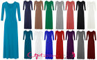 NEW WOMENS LADIES PLAIN COLOR LONG SLEEVE FLARE MAXI JERSEY DRESS SIZE 8-14