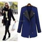 New Women Vintage Faux Leather Long Sleeve Trench Coat Lapel Parka Jacket Parka