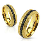 316L Stainless Steel Glittering Gold Eternity Band with Black CZs Ring Size 5-13