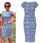 Sexy Women's Floral Printed Cap Sleeve Ladies Bodycon Midi Dress SWTG