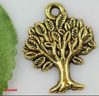 lots 50pcs Antique Gold Tone Tree Findings Charm Jewelry Pendant 22mm