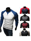 Men Casual Slim Fit Long Sleeve Crew Neck T-shirt Tee Tops Raglan Baseball