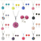 Disco Crystal Ball Ear Stud Earrings Silver Chain Pendant Necklace Jewelry Set