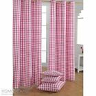 Pink Check Eyelet Ready Made Curtain Cotton Kids Children Curtains Ring Top