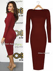 WOMENS CELEB STYLE LADIES BODYCON SCOOP NECK MIDI PARTY CASUAL DRESS SIZE 8-16