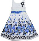 Girls Dress Blue Flower Trimmed Elegant Princess Party Boutique Children 6-12