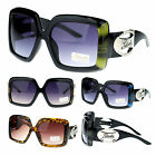 Giselle Diva Extra Large Thick Plastic Rectangular Bling Jewel Emblem Sunglasses