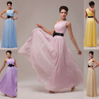 NEW EVENING DRESS Long Chiffon One Shoulder Formal Party Prom Dress Fixed Sash