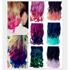 """3/4 Full Head Clip in Human Made 21""""Synthetic Straight Curly Hair Extensions"""