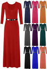 Plus Size New Ladies Womens 3/4 Sleeve Jersey Belted Maxi Dress Skirt Size 8-26