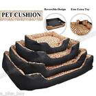 Pet Dog Cat Thick Bed Cushion Non-Slip Small Medium Extra Large Leopard Black
