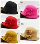 Chic Womens Wool Warm Winter Flower Formal Party Bucket Caps Church Cloche Hats