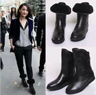 NEW women's Fashion Ankle boots Leather+fur sneaker Flat Snow shoes warm boots