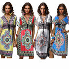 Summer Women Bohemian Style Boho Vintage V Neck Floral Print Beach Casual Dress