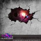 SPACE PLANETS UNIVERSE WORLD CRACKED 3D - WALL ART STICKER BOYS DECAL MURAL 6