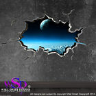SPACE PLANETS UNIVERSE WORLD CRACKED 3D - WALL ART STICKER BOYS DECAL WSDFC85