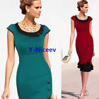Plus size S to 4XL Mermaid Hem Women Buttoned Wiggle Bodycon Summer Dress 854