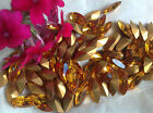 Vintage Czech Gold Foiled Navette Shaped Rhinestones 8x4 mm Pack Of 18 Post