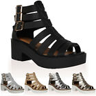 WOMENS CUT OUT LADIES STRAPPY CHUNKY HEEL GLADIATOR SANDALS SHOES SIZE 3-8