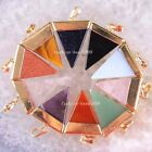 Gold Plated Triangle Mixed Natural Crystal Carnelian Tigereye Opal Pendant 1Pcs