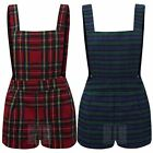 WOMENS SLEEVELESS TARTAN PLAID STRIPED DUNGAREE LADIES PLAYSUIT PINAFORE DRESS