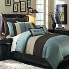 Hudson Luxury Blue, Brown and Off White 12-Piece Bedding Set