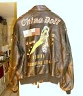 Avirex A-2 painted China Doll flying tigers pin-up girl leather flight jacket. L