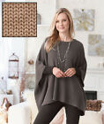 Women's Boatneck Poncho Sweaters Gray or Camel Wrap up Warmth w/ Arm Holes