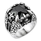 316L Stainless Steel Men's Faceted Stone Fleur De Lis Dragon Claw Ring Size 9-14