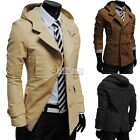Men's Fashion Casual Double Breasted Trench Slim Fit Long Coat Hoodie Jacket B5U