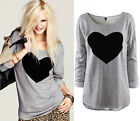 Womens Round Neck Love Heart Printed Long Sleeve T-shirt Tops Blouse Cotton Tee