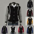 Men's Men Varsity College University Letterman Baseball Hooded Hoody Jacket Coat