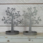 Grey & Taupe Metal Jewellery Tree Stand & Tray Earring Necklace Holder Rack