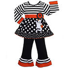 AnnLoren Girls Boutique Halloween Stripe & Dot Ghost Outfit 12/18 mo- 9/10