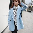 Women/Lady Double Breasted Trench Peacoat Coat Wool Blend Jacket Outerwear New
