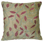 wh06a Pale Olive,Red Leaf Embroidered Chenille Throw Pillow CASE/Cushion COVER*